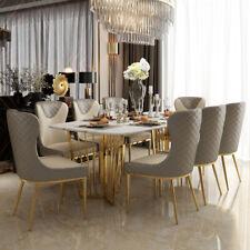 Tisch + 6 Stühle Edler Ess Zimmer Gruppe Lehn Stühle Tische Designer Marmor Neu