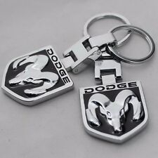 Car Key Chain 2 side Logo Metal keyring key holder Chrome For Dodge Ram (E002)