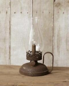 Primitive new Led Oil Lamp in distressed Tin