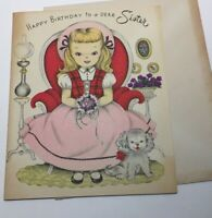 Vintage 1950s Happy Birthday Sister Forget-me-Not card with posie, puppy unused
