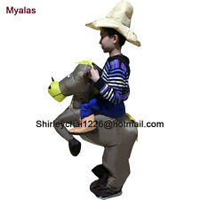 Kids Cow boy Rider Horse Brown Cowboy Horse Inflatable 6 to 9 age Kids Costume