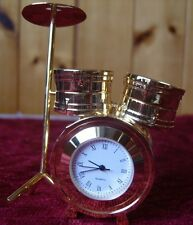 SOLID BRASS MINIATURE DRUM KIT CLOCK IN GIFT BOX BY LEONARDO  IDEAL GIFT