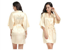 Hot Fix Rhinestone Bride Satin Kimono Robe Wedding Maid Of Honor Bridesmaid Gown