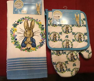 NWT Beatrix Potter Easter Springtime Blues Peter Rabbit Towel & Mitts 3 PCS Set