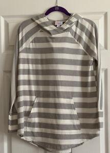 NWT Lularoe Amber Hoodie - Size Large - Gray & White Striped Print - HTF!