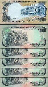 South Vietnam 1000 Dong, 1972, aUnc / Unc, 5 Pcs LOT, Consecutive, P-34