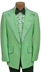 Mens Vintage Green Tuxedo Jacket with Ruffle & Bow Tie 1970's Prom Wedding 39R