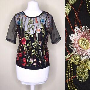 Cameo Rose Women Top UK 10 Black Embroidery Floral Short Sleeve Boho Mesh Blouse
