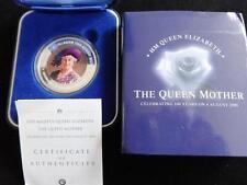 Plata Fina 2000 prueba multicolor cocinar ISLs $1 Caja de Monedas + certificado De Autenticidad reina madre 100th