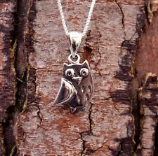 Sterling Silver 925 Cute Owl Pendant & Chain Necklace Pure Origins Sea Gems Gift