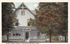 GENEVA ON THE LAKE OHIO SHADY BEACH COTTAGE~WOMAN & BABY ON PORCH POSTCARD 1920s