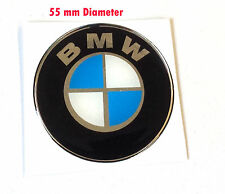 BMW Roundal stickers/decals 55MM chrome/blue-HIGH GLOSS DOMED GEL FINISH- 55mm