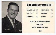 DONALD TRUMP CAMPAIGN MANAGER PAUL MANAFORT Father Political Postcard 1960s CT