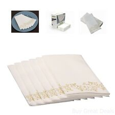 Hand Towel Decorative Gold Floral Durable Cloth-Like And Disposable Box 100 Set