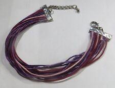 Bracelet de 15 cordelettes camaïeu violet, brun et rose avec attaches argentées