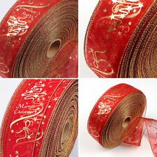 6*200cm Christmas Gold & Red Flower PVC Silk Ribbon Band Tree Party Decor Belt