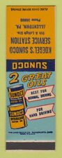 Matchbook Cover - Sunoco oil gas Koegel's Allentown PA