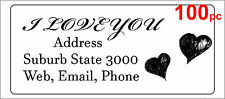 100 Personalised return address label two hearts love mailing sticker 56x25mm