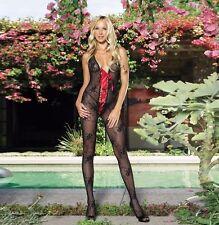 NEW BLACK RED RIBBON LACED FLORAL LACE NET BODYSTOCKING LEG AVENUE BODYSUIT BODY