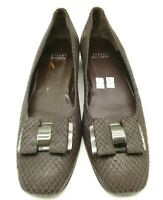 Stuart Weitzman Brown Snakeskin Print Leather Bow Dress Loafers Women's 11 SS