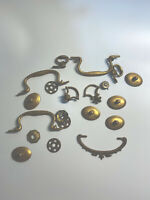 Mixed Lot of 10 Vintage Drawer Pulls and pieces. Hardware Metal Brass Antique.