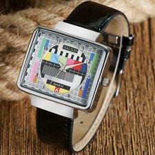 Fashion Rectangle Television TV Test Signal Women Men Sport Quartz Wrist Watch