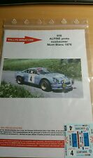 Decals 1/32 ref 958 Alpine Renault A110 nusbaumer Rallye Mont Blanc 1976 Rally