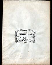 """SAC D'EMBALLAGE du CONFISEUR """"VINCENT-COLIN / FOREST à NANTES"""" période 1830-1870"""
