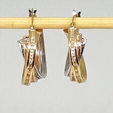 14K solid yellow /white/Rose multi-tone gold, white Topaz hoop earrings 16mm