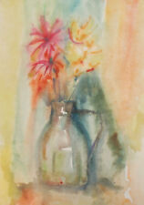 VINTAGE WATERCOLOR PAINTING POST IMPRESSIONIST STILL LIFE WITH FLOWERS