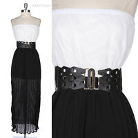 Two Tone Color Strapless Chiffon Sheer Full Length Long Pleated Dress with Belt