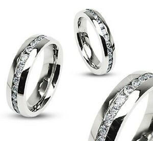 316L Stainless Steel Clear CZ Eternity Wedding Band Ring Sizes 4 1/2 to 13