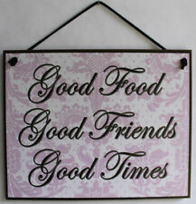 Sign Good Food Friends Time Friendship Kitchen Decor Restaurant Plaque Wood Vtg