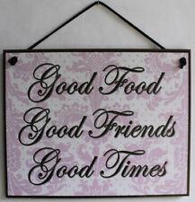 Sign Good Food Friends Time Friendship Kitchen Decor Restaurant Plaque Wood Vtg