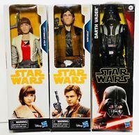 "Star Wars 12"" Figure LOT3 Darth Vader Hans Solo QI'RA Revenge of Sith Solo Story"