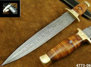"ALISTAR 14.1"" HANDMADE DAMASCUS STEEL SWISS DAGGER HUNTING KNIFE 4773-6"