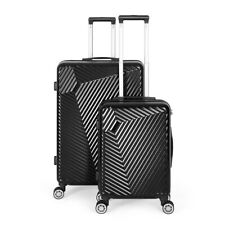 Black Luggage Sets 2 Piece Travel Spinner Suitcase Lightweight ABS 20