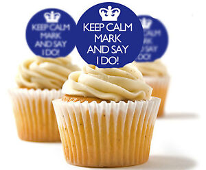 ✿ 24 Edible Rice Paper Cup Cake Toppings, Cake decs - Keep Calm ✿