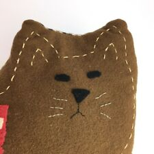 Americana Folk Art Cat Shaped Pillow Patriotic Sculptural Brown Felted