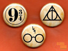 "Set of three 1"" Harry Potter symbols pins buttons"