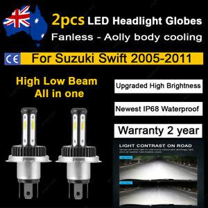 For 2008 2009 Suzuki Swift 2x Headlight Globes High Low Beam white LED Bulbs A2