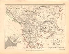 1855 Antique Map/Battle Plan- Map of Turkey- war with Russia, 1807-1812