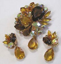 Vintage Jewelry Brooch & Earrings Set Amber Cola Aurora 3 Dangles Goldtone 1950s