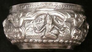 Antique Vintage Burmese Thai Repousse 650 Silver Thabeik Bowl Water Offering Old