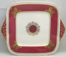 Wedgwood Columbia Powder Ruby (Rim and Center) Square Handled Cake Plate
