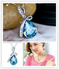 Women's Rhinestone silver plated Chain Crystal teardrop design Pendant Necklace