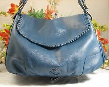 Gorgeous ORYANY Large Teal Blue Pebbled Leather Shoulder Bag With Tassel NWT