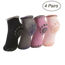 4 Pairs Ladies Cotton Non-slip Yoga Socks Sports Pilates Womens Girls Grip Soft
