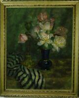 Blumenstillleben Tulpenstrauß in blauer Vase um 1900 Ölgemälde signiert Gebler?
