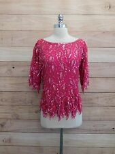21-39 True 80s Vtg Womans Cocktail Blouse Sz Med Hot pInk Sequins Beaded Silk